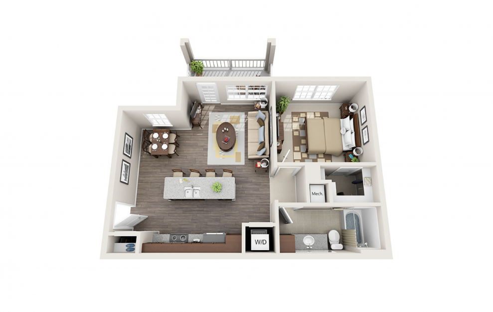 A1 - 1 bedroom floorplan layout with 1 bath and 732 square feet.