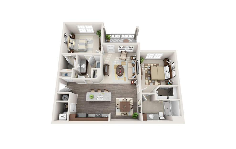 B1 - 2 bedroom floorplan layout with 2 baths and 1186 square feet.
