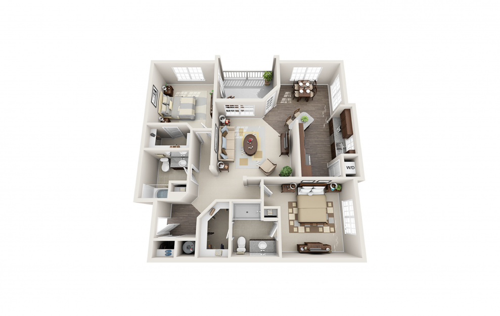 B2 - 2 bedroom floorplan layout with 2 baths and 1248 square feet.