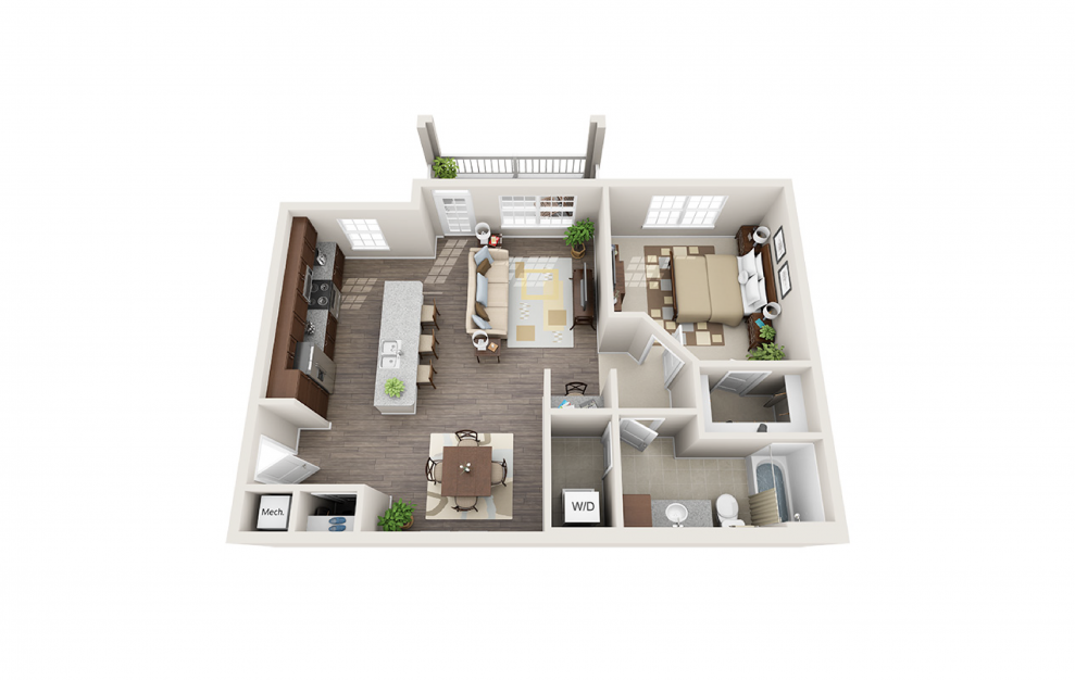 A2 - 1 bedroom floorplan layout with 1 bath and 906 square feet.