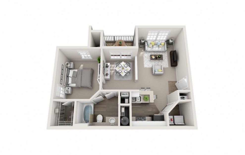 Bobwhite - 1 bedroom floorplan layout with 1 bath and 815 square feet.