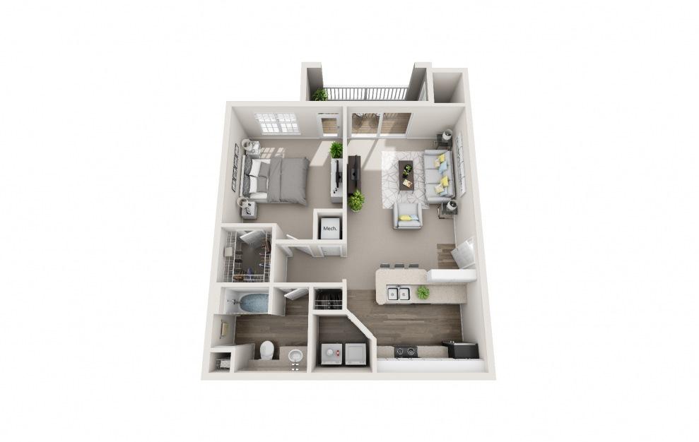 Hummingbird - 1 bedroom floorplan layout with 1 bath and 738 square feet.