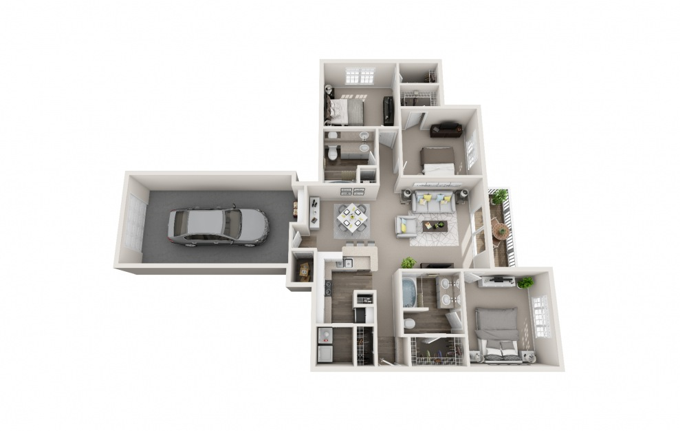 Kingfisher - 3 bedroom floorplan layout with 2 baths and 1421 square feet.