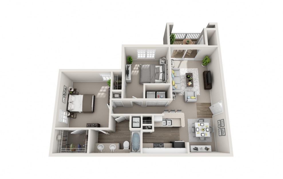 Meadowlark - 1 bedroom floorplan layout with 1 bath and 939 square feet.