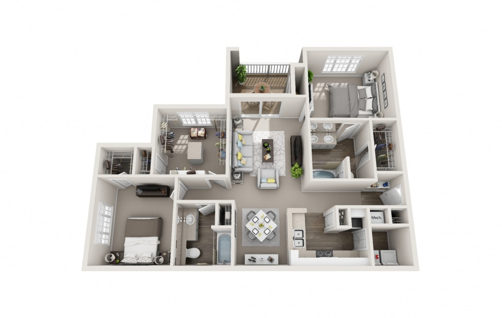Sparrow - 2 bedroom floorplan layout with 2 baths and 1343 square feet.