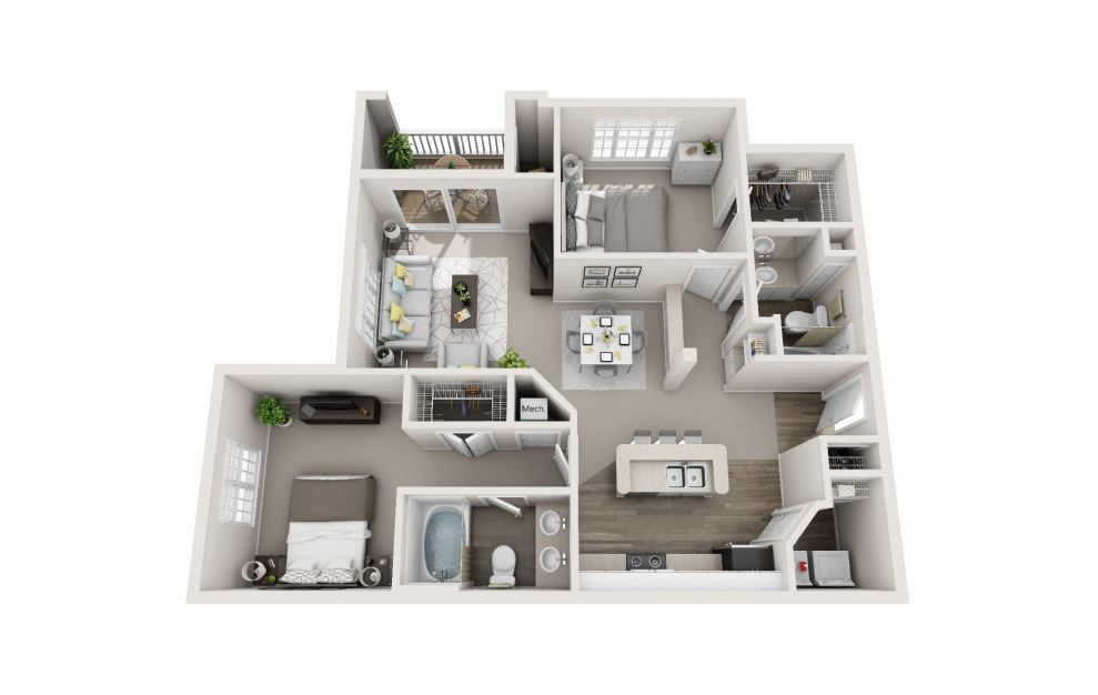 Starling - 2 bedroom floorplan layout with 2 baths and 1125 square feet.
