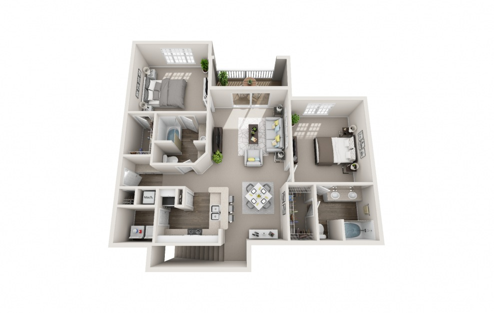 Whip-Poor-Will - 2 bedroom floorplan layout with 2 baths and 1345 square feet.