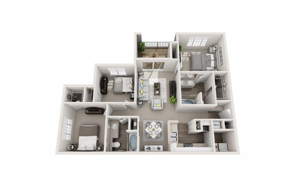 Cardinal - 3 bedroom floorplan layout with 2 baths and 1343 square feet.